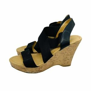 Chinese Laundry Black Strappy Wedge Sandal 8.5